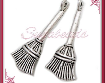 10 Antiqued Silver Broom Charms 27mm PS49