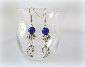 Trendy earrings and original blue bead with silver feather, nickel free