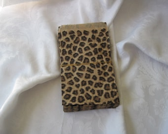 100 Paper Bags, Cheetah Leopard Animal Print, Gift Bags, Party Favor Bags, Merchandise Retail Bags 4x6