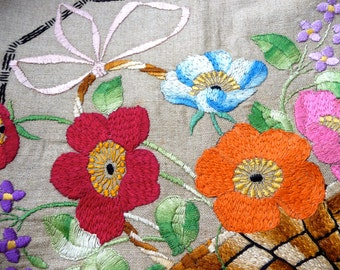 Flower Embroidery Floral Fiber Art Embroidered Linen