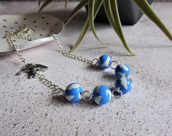 Cloud necklace, Bird necklace, Unique necklace, Weather jewelry, Blue and white accessory, Beaded necklace, Bird charm, Unique jewellery