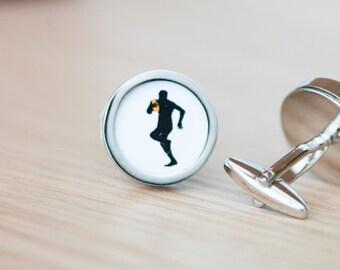 Rugby Cufflinks - Gift cufflinks, Men's Cufflinks,  Husband, Wedding gift, Novelty cufflinks for him,  rugby sports, rugby lovers, player