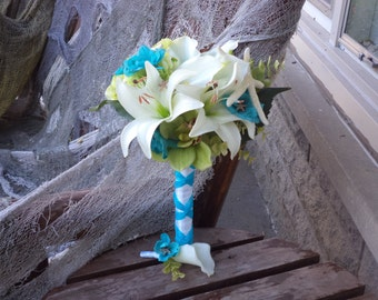 Coral ivory and teal blue real touch silk bridal bouquet beach wedding destination tropical flowers ivory and teal lime real touch silk bridal mightylinksfo Gallery