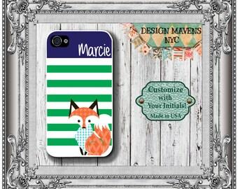 Preppy Fox iPhone Case, Personalized iPhone Case, Striped Monogram iPhone Case, iPhone 5, 5s, 5c, iPhone 6, 6s, 6 Plus, SE, iPhone 7, 7 Plus