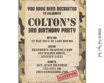 Soldier Army Military Themed Party Invitation, DIY, Print Your Own