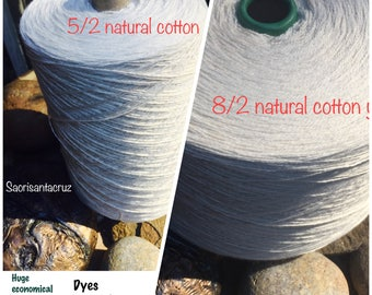 XXL cotton  huge cones 8/2  or 5/2 In Stock natural  un mercerized almost 4 lb cone  great for dyeing 100%cotton:Saorisantacruz