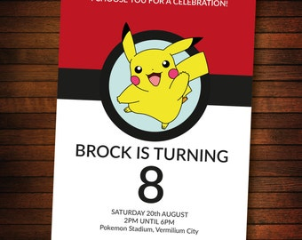 Personalised pokemon invite - SELF EDITABLE PDF - 5 x 7 inch Customisable pokemon Printable Birthday Party Invite - Instant Download