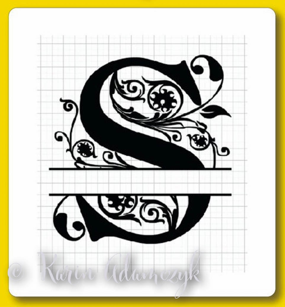 a to z split regal monograms in svg dxf and eps formats with