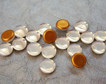 10 - Preciosa 7mm round White opal gold foiled glass cabochons -CD60