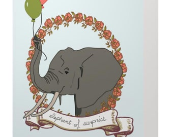 Elephant of Surprise Birthday Card