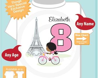 Paris Birthday Shirt for eighth Birthday, Pink 8 Birthday Shirt, Personalized Girls Birthday Shirt, Tee for dark skin child 05092018a