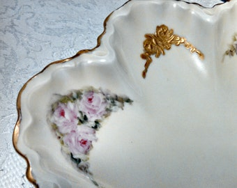 Antique Haviland Serving Bowl, Scalloped Limoges Porcelain, Gold and Roses, Hand Painted, Art Nouveau, Circa 1910s