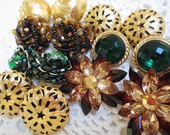 Clip On Vintage Earrings Jewelry Crafting Lot Gold Green Brown (7) Crystal Metal Glass