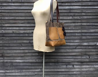 Waxed canvas tote bag  with leather bottom and outside pockets in mustard colour  / waterproof tote bag