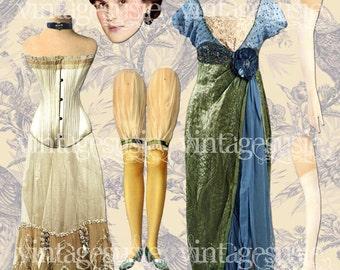 MARY DOWNTON ABBEY Digital Paper Doll Vintage Edwardian Collage Sheet Digital Download