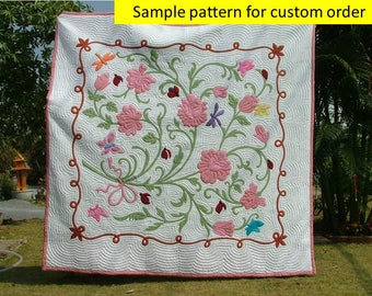 Traditional Hawaiian quilting style hand stitched, Handmade quilt, Appliqued Hawaiian quilts, Flower Bouquet, Quilts, Blanket & throws, pink