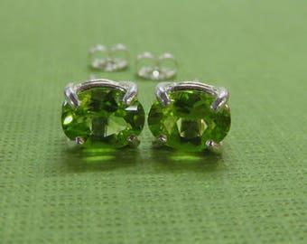 Peridot Earrings - Peridot Birthstone Post Earrings - Peridot & Sterling Silver Oval Post Earrings