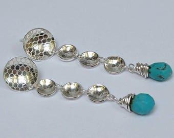 Sterling silver handmade turquoise drop earrings, hallmarked in Edinburgh.