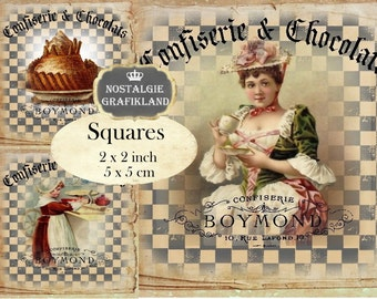French Confiserie Squares 2x2 inch squares Instant Download digital collage sheet TW145