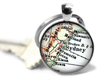 Sydney, Australia map keychain, personalized keychain gift, Birthday Gift, Gift for him, Father's Day Gift, Anniversary Gifts for Men, A319