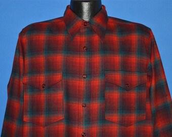 40s Pendleton Red Shadow Plaid Wool shirt Large