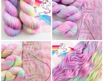Chasing Unicorn set of 2 skeins. Hand Dyed 2-skein yarn set.Super Soft luxury 100% Extrafine Merino. fingering weight.