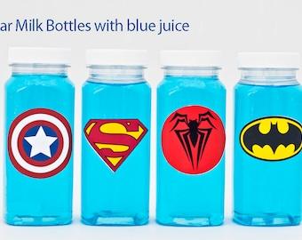 5 or More Superhero Milk Bottles, Plastic Milk Bottles, Superhero Party Drink Bottles, Superhero Party Bottles GS001