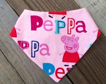 Peppa pig bandana bib, peppa pig baby bib