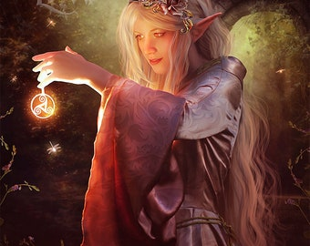 elven woman art, elf fantasy print, elven magic print, fantasy woman art, triskel fantasy art, magical woman, mage art print, fantasy forest