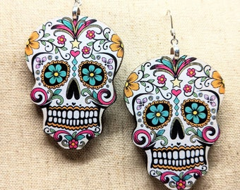 Sugar Skull Earrings / Dia de los Muertos Earrings / Halloween Earrings / Day of the Dead / Sugar Skull Accessories / Halloween Accessories