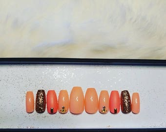 Peach and Copper Sparkle  Press on nails