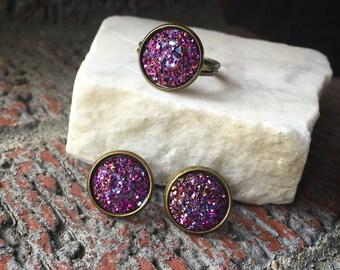 Closeout, Sale, Purple Druzy Earrings, Purple Druzy Ring, Bronze Earrings, Bronze Ring, Earring and Ring Set, Faux Druzy Jewelry,