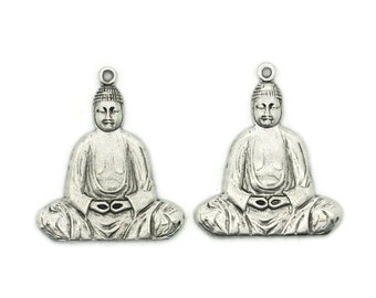 Antiqued Silver Brass Buddha Charms Pendants, 2pcs