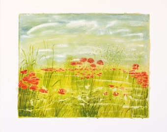 Painting, painting, painting on pasteboard, poppies, acrylic on cardboard.