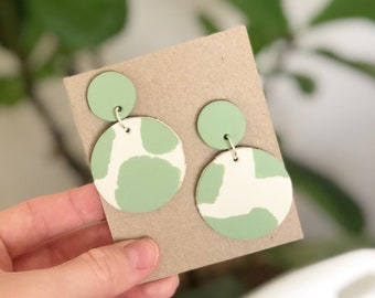 Mint green and white dangles