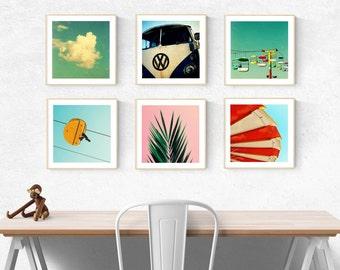 modern art print set // beach california art prints // palm tree wall art photography - santa cruz photography art print set