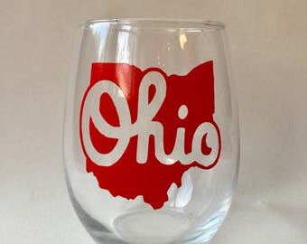 Script Ohio 21oz stemless wine glass