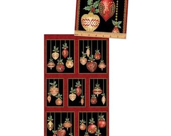 A Festive Season~Ornament Panel 23in x 44in Christmas Cotton Fabric By Benartex