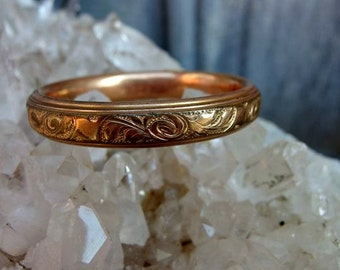 Petite Embossed Rose Gold Plated Bangle, 'Mae' on Bottom, Signed Interior with April 1912 Patent Date