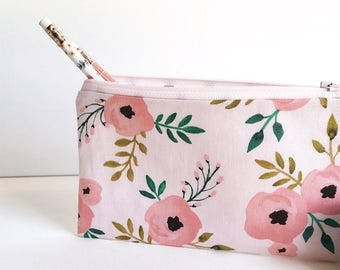 Zippered pouch, makeup bag, cosmetic bag, pencil case, purse organizer, zipper case, travel case, accessories bag, essentials zipper bag
