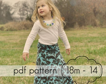 Girls Yoga A-Line Skirt - INSTANT DOWNLOAD - 18m-14 + doll, 2 length options knee and maxi - pdf sewing pattern