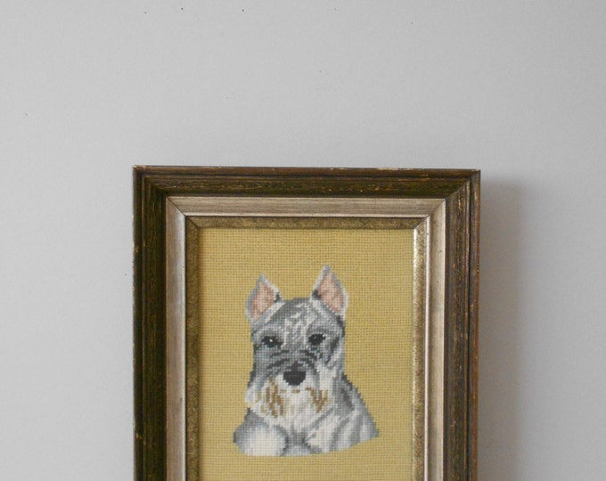 schnauzer scottie dog yorkie crewel embroidery framed picture / cross stitch / needlepoint / dog lover