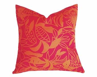 Boho Pillows, Pink Orange Pillow, Orange Throw Pillow, Boho Decorative Pillow, Floral Toss Pillow, Bold Cushions, BLACK FRIDAY SALE, 18x18