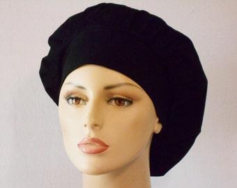 Scrub Hats -  Bouffant Scrub Hats-Solid  Black Kona Cotton Scrub Hats-Scrub Caps-Scrub Hats-Accessories-Womens Scrub Hats-SilverCaps
