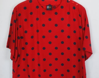 Silk shirt, Vintage shirt, 80s clothing, shirt 80s, Silk, red, black dots, short sleeves, oversized #