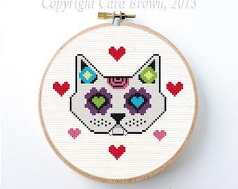 Sugar Skull Cat Cross Stitch Pattern Instant Download Digital Day of the Dead