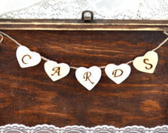 Card Box Banner Cards Banner for Card Box Wooden Cards Garland Sign Decoration Cards Banner Wooden Card Banner