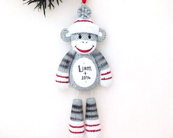 Sock Monkey Personalized Christmas Ornament / Child Gift / Toddler Gift / Baby Ornament