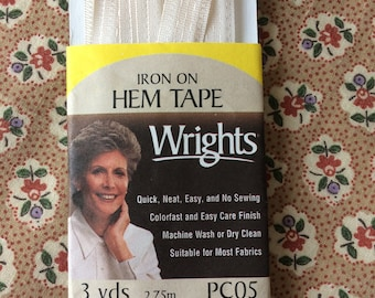 """New Eggshell Light Beige Iron On Hem Tape 1/2"""" (13 mm) wide x 2-3/4 yards long by Wrights 100% Polyester"""