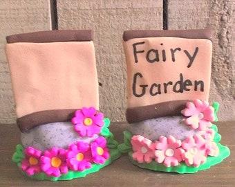 Fairy Garden Sign polymer clay figurine